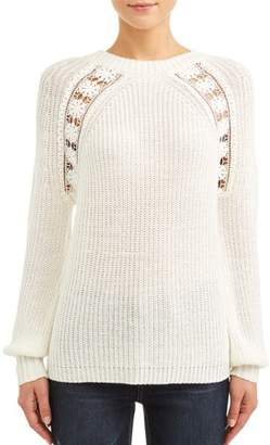 Alison Andrews Women's Blouson Sleeve with Crochet Lace Detail Sweater