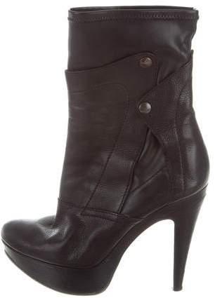 Vera Wang Lavender Label Leather Platform Ankle Boots