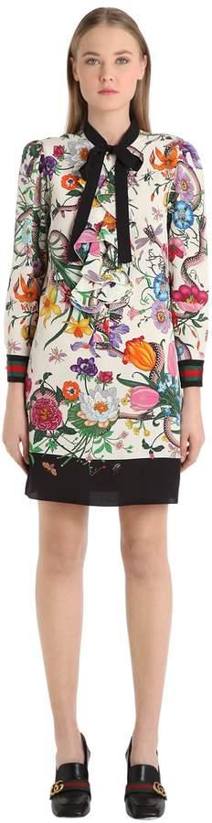 Floral Silk Cady Crepe Shirt Dress
