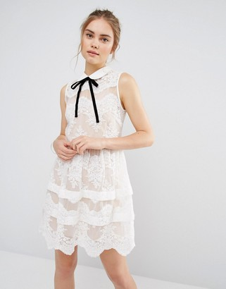 Endless Rose Contrast Collar Tierred Lace Mini Dress $112 thestylecure.com