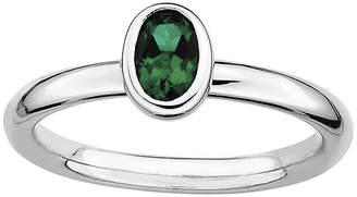 JCPenney FINE JEWELRY Personally Stackable Oval Lab-Created Emerald Ring