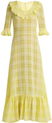 THE VAMPIRE'S WIFE Gloria ruffle-trimmed checked gauze maxi dress