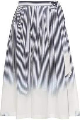 Milly Pleated Striped Dégradé Stretch Cotton-Poplin Skirt