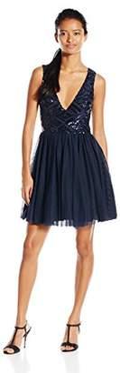 Trixxi Junior's Sequin Mesh Short Prom Dress