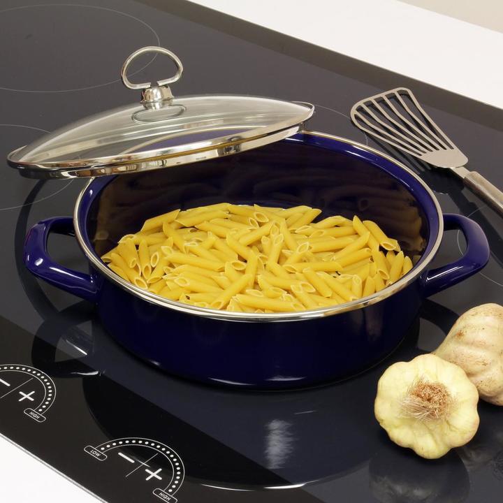 ChantalChantal 3 qt. Enamel-on-Steel Saute Pan with Glass Lid in Cobalt Blue