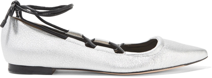 3.1 Phillip Lim 3.1 Phillip Lim Kiddie lace-up metallic textured-leather point-toe flats