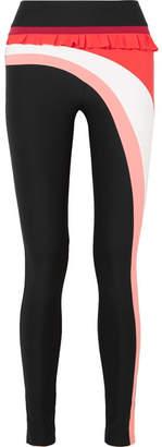 NO KA 'OI NO KA'OI - Nalu Kela Ruffled Striped Stretch Leggings - Black