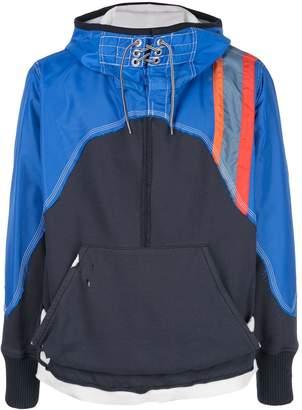 Greg Lauren contrast hooded sweatshirt