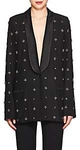 Koche Women's Embellished Plain-Weave One-Button Tuxedo Jacket-Black