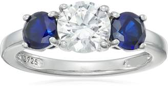 Swarovski Amazon Collection Sterling Silver Zirconia Round Center Stone with Created Sapphire Accent 3-Stone Ring, Size 8
