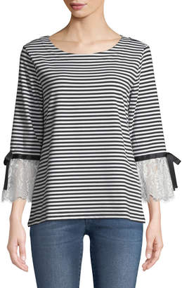Karl Lagerfeld Paris Striped Terry Lace-Cuff Tee