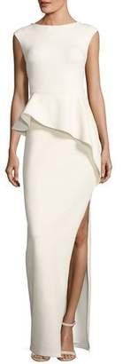 Halston Cap-Sleeve Round-Neck Column Evening Gown w/ Ruffle