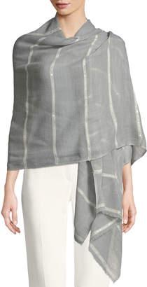 Bindya Wool-Silk Striped Stole Delicacy w/ Sequins