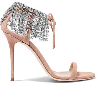 Giuseppe Zanotti - Carrie Crystal-embellished Suede Sandals - Antique rose $1,295 thestylecure.com