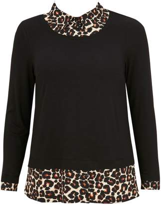 057eea0fcf1 Next Womens Evans Black Animal Print 2-In-1 Scoop Shirt