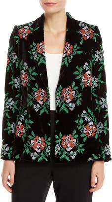 Novis Bronson One-Button Floral-Embroidered Velvet Structured Blazer