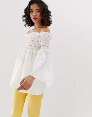 Vero Moda Rainbow Smock Top With Flared Sleeves