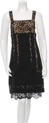 Oscar de la Renta Tweed & Lace Dress