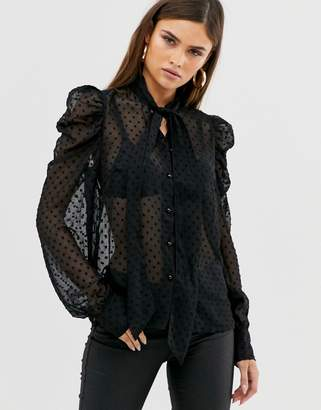 Y.A.S pussy bow polka dot sheer blouse with puff sleeve