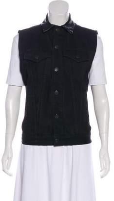 J Brand Leather-Trimmed Sleeveless Vest