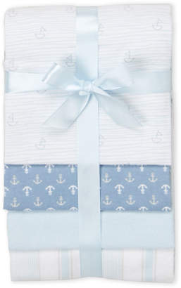 Baby Essentials Piccolo Bambino 4-Pack Blue Flannel Receiving Blanket Gift Set