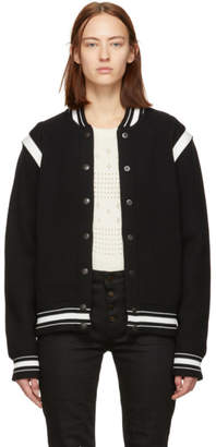 Givenchy Black and White Wool 4G Bomber Jacket