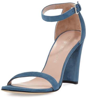 Stuart Weitzman Walkway 90mm Suede Ankle-Wrap Sandal $398 thestylecure.com