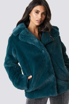 Di Lara Dilara X NA-KD Soft Faux Fur Jacket Brown