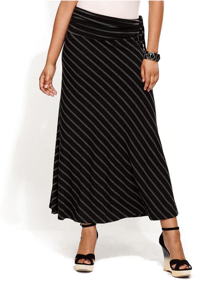 INC International Concepts Skirt, Striped Convertible Maxi Halter