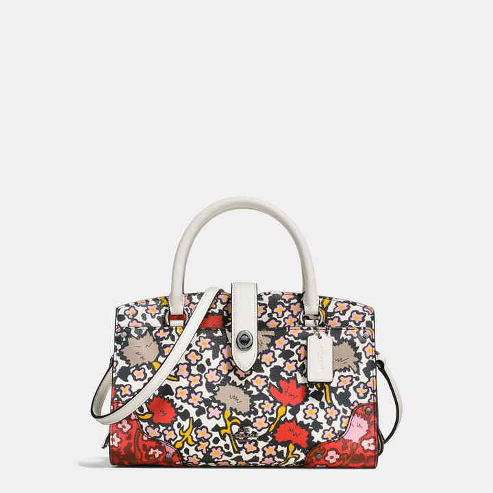 Coach   COACH Coach Mercer Satchel 24 In Multi Floral Print Polished Pebble Leather