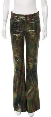 Tom Ford Metallic Mid-Rise Wide-Leg Pants