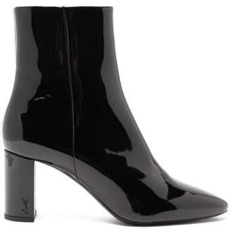 Saint Laurent Lou Patent Leather Ankle Boots - Womens - Black