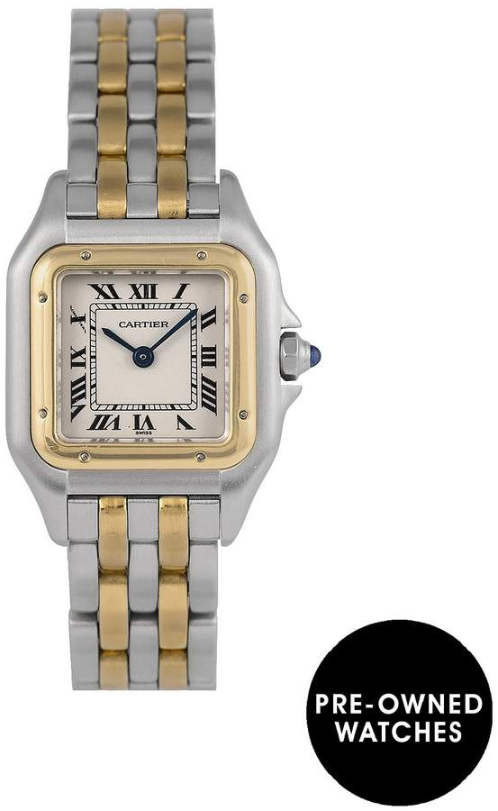 Pre-Owned Panthere 2-Row Quartz Off-White Dial Bimetal Ladies Watch Ref 1120