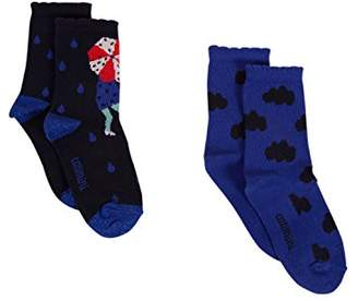 Catimini Girl's Lot De Chaussettes Pour Calf Socks (Royal Blue 45), (Manufacturer Size: 39/42) Pack of 2