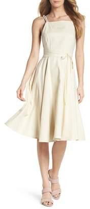 Gal Meets Glam Caroline Linen Blend Fit & Flare Dress