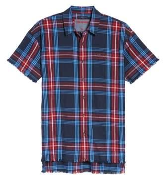 True Religion Brand Jeans Raw Edge Plaid Woven Shirt