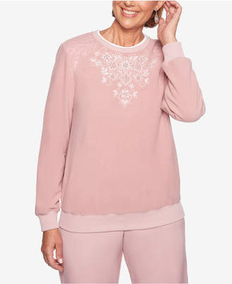 Alfred Dunner Home For The Holidays Floral-Appliqué Top
