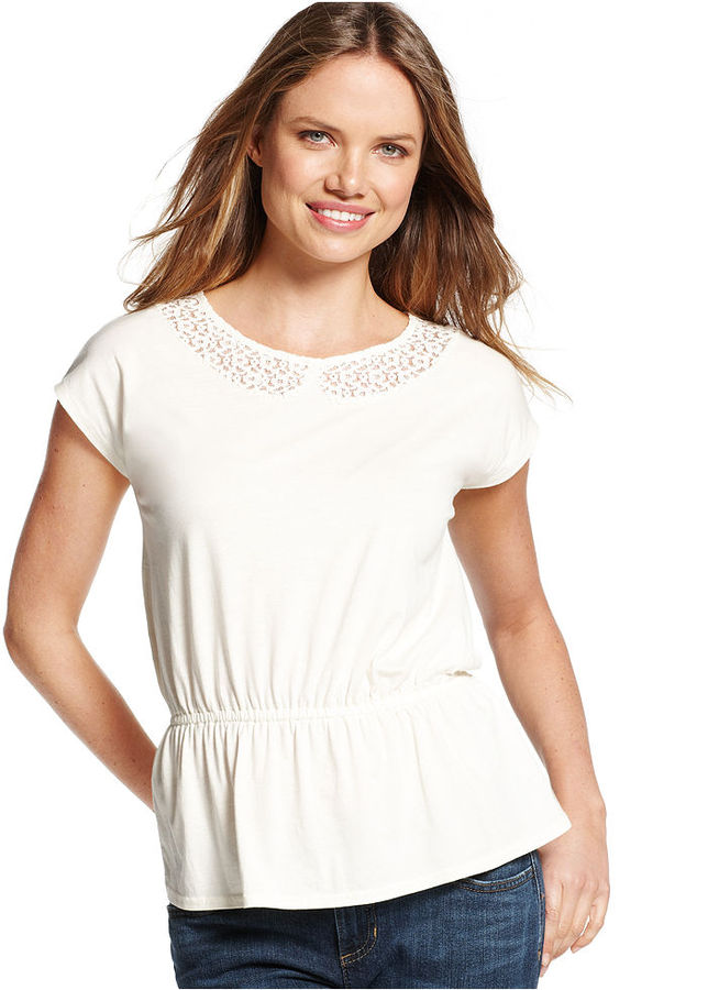 Tommy Hilfiger Top, Short-Sleeve Lace-Inset