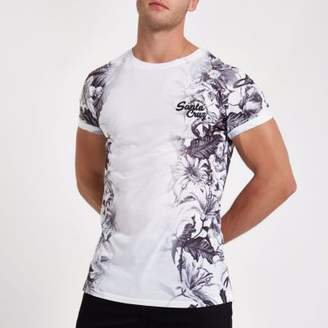 River Island White slim fit 'Santa Cruz' floral T-shirt