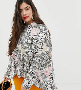 781fb3ccab15 Neon Rose Plus swing blouse in jungle print satin co-ord