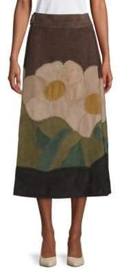 Valentino Textured Suede Wraparound Skirt