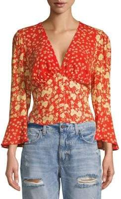 Free People Floral Bell-Sleeve Cropped Top