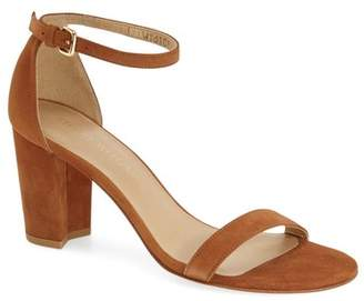Stuart Weitzman Nearlynude/Simple Ankle Strap Sandal $425 thestylecure.com