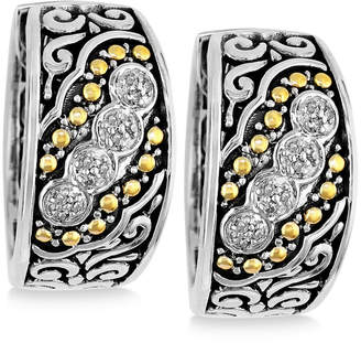 Effy Balissima by Diamond Small Hoop Earrings (1/8 ct. t.w.) in Sterling Silver and 18k Gold