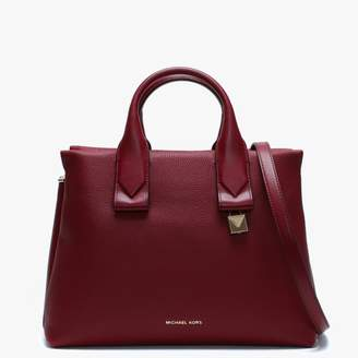 Michael Kors Large Rollins Maroon Pebbled Leather Satchel Bag
