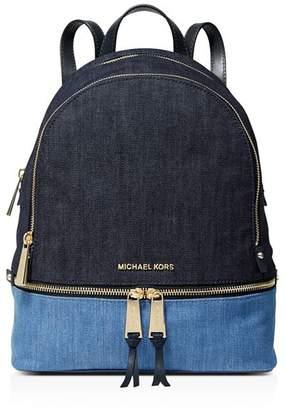 6bcc1b37aed2 MICHAEL Michael Kors Medium Rhea Color-Block Fabric Backpack
