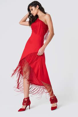 Na Kd Boho One Shoulder Fringe Dress Red