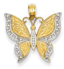 Kevin Jewelers 14K Yellow Gold and Rhodium Butterfly Pendant