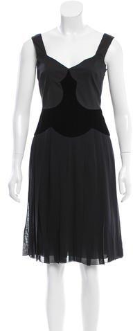 pradaPrada Velvet-Accented Cocktail Dress