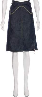 Just Cavalli Embroidered Denim Knee-Length Skirt